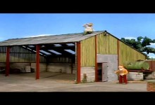 Cerveny traktor: Na streche